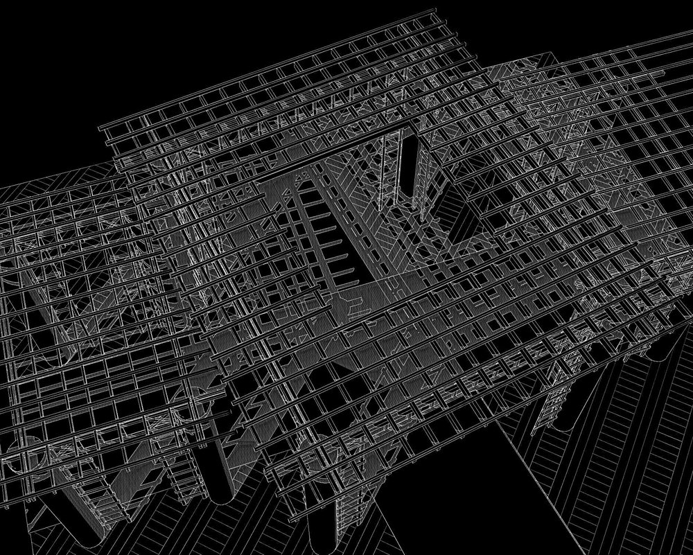 - 3D model showing crossing area from above