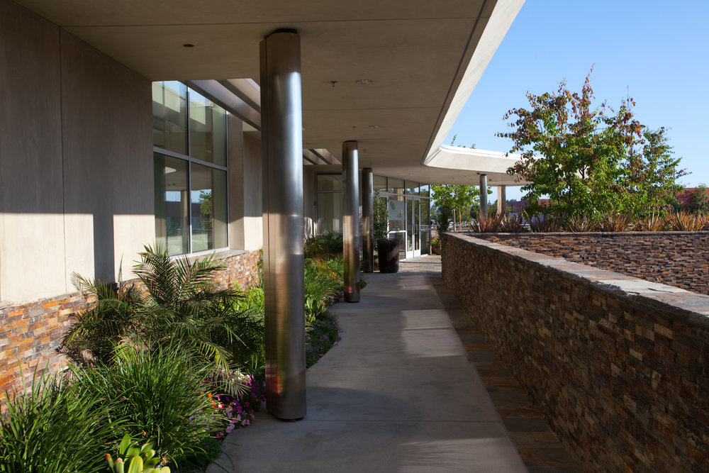 - The entrance walkway to the renovated building.
