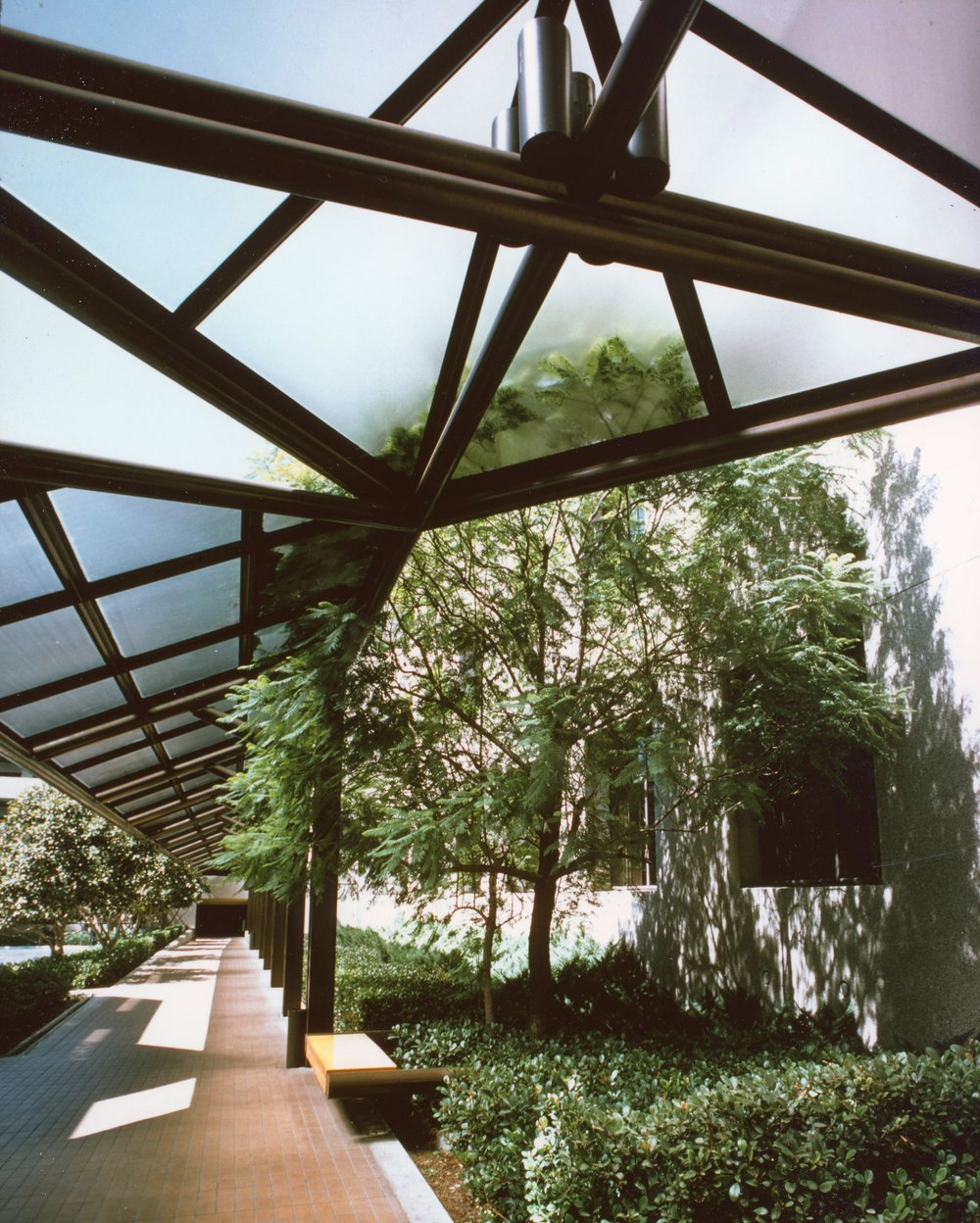 - Glass canopy detail