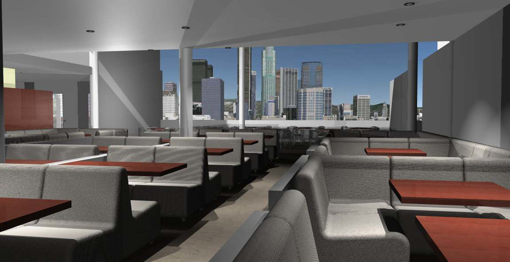 - View of restaurant interior looking north to the Los Angeles skyline