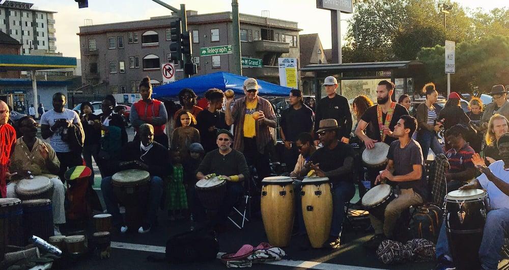 Drum circle at First Fridays