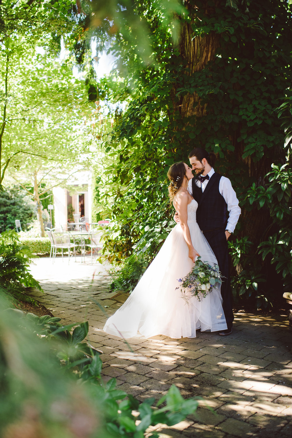 A Bride and grooms first look in our courtyard.