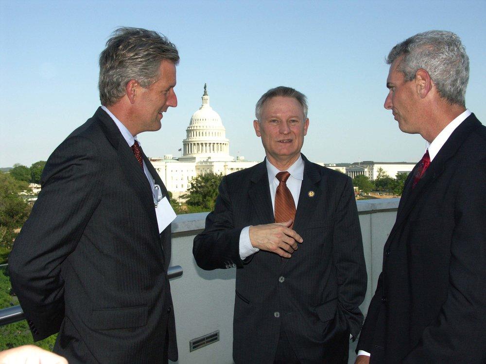 Steve Andrews and Steve Gardner of ICBA meeting with House Finance Chairman Spencer Bachus