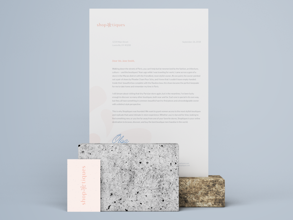 Letterhead and Business Cards; using typefaces Lora and Lato