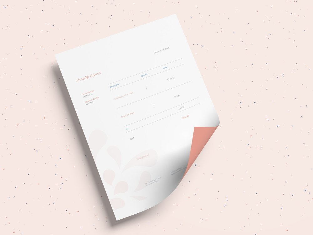 Invoice; using typefaces Lora and Lato