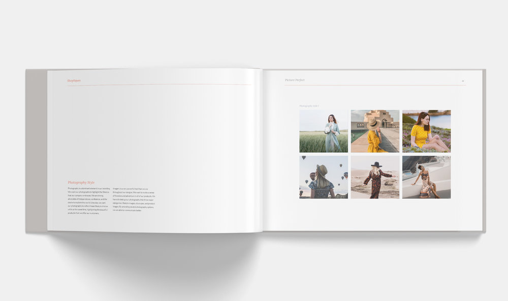 Select page from brand standards manual; Photography style brand guidelines