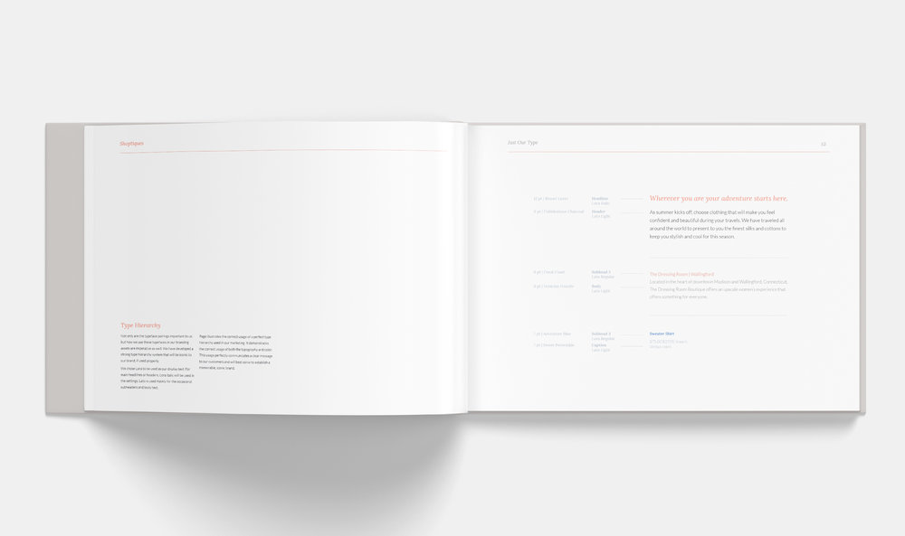 Select page from brand standards manual; Type Hierarchy guidelines