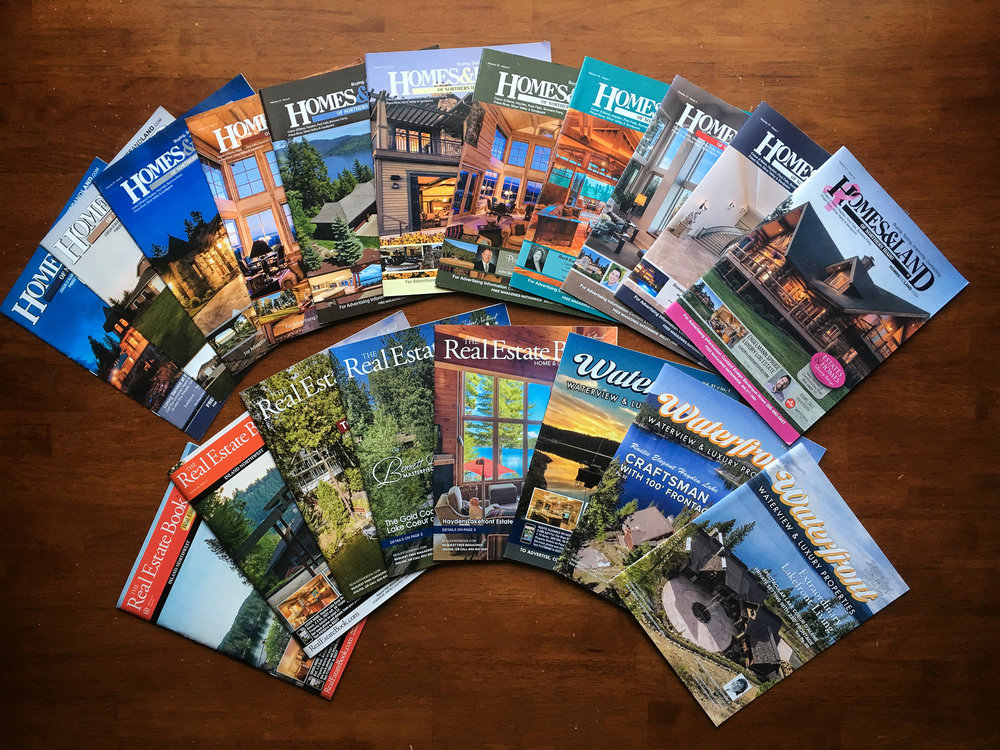 Some of the many magazine covers that feature luxury homes photographed by McCall Media.