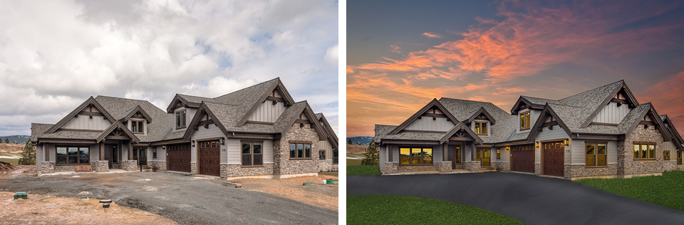 Before and after of a new construction home with virtual twilight, lawn and driveway creation.