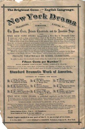 New York Drama . This is the interior cover of No. 10 in the series of plays issued for amateur reading and production.