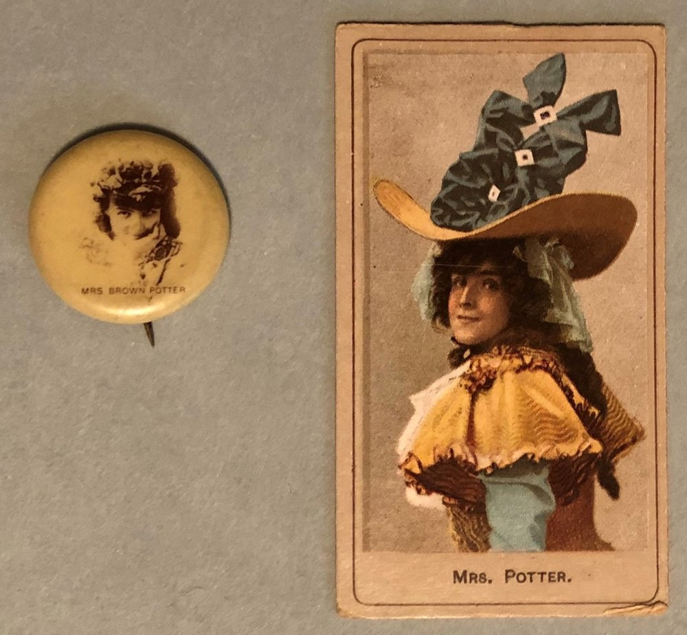 Sweet Caporal Cigarette Company button and pin picturing Mrs. James Brown Potter.