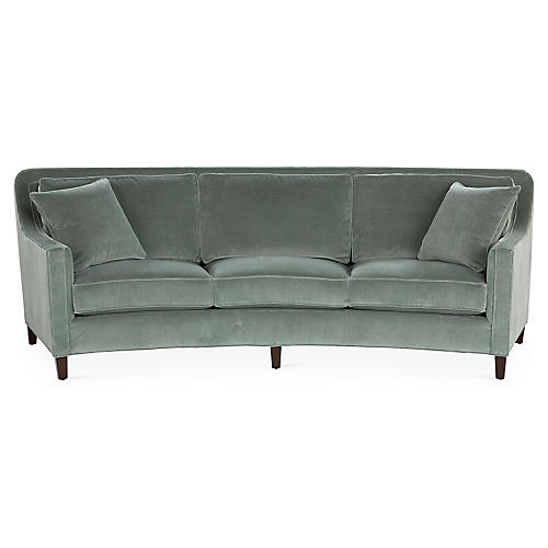 "Didn't realize we were setting trends at the time, but we just ordered this Cayman sofa from Miles Talbott for a client a few weeks ago. She saw this sofa on the sales floor of a local furniture store and absolutely fell in love with it, rejecting all other options we had considered. Because she had such a strong reaction, I wholeheartedly supported her decision, whether it was ""on trend for 2019"" or not.   A word of caution - sofas that curve have a larger footprint than a standard sofa. Make sure you read the furniture specs carefully to ensure you have the depth that a curved sofa requires!"