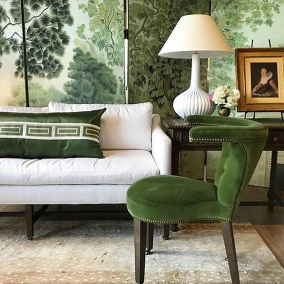 In this Showhouse room by Atlanta's Gordon Dunning, green is used to create a sophisticated, nature inspired retreat.