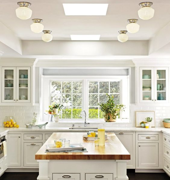 "This will never be wrong or ""out"". A white kitchen with timeless finishes is forever stylish. Ditto on the white subway tile splash and polished nickel hardware. Kitchens are too expensive to replace to get sucked in by fleeting trends and wonky lighting - keep it Classic for timeless appeal!"