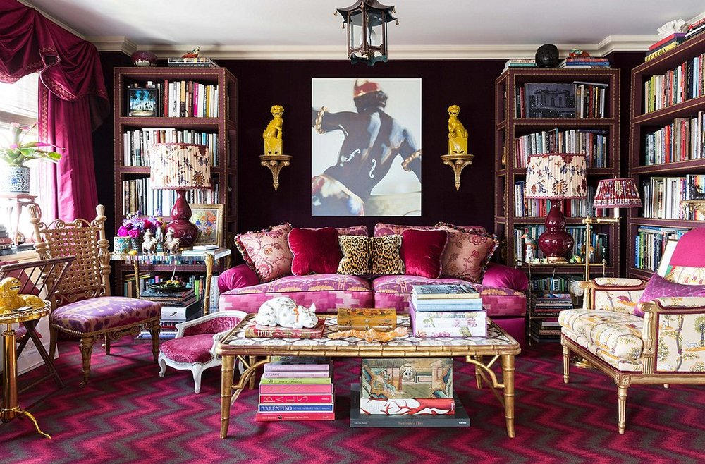 The legendary Alex Papachristidis throws caution to the wind with an exuberant textile mix that is accented with whimsical Chinoiserie design elements.