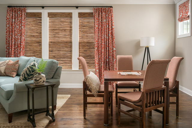 One thing to note here is that since the blinds provide light control and privacy, the curtain panels are strictly decorative. That said, we had them made with extra fullness to work aesthetically with the width of the triple window. Wide windows and skimpy curtains are a no-no.