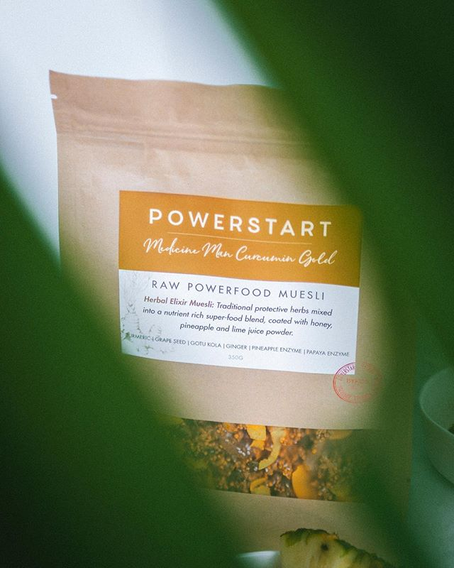 POWERSTART - Medicine Man Curcumin Gold Herbal Elixir Muesli: Traditional protective herbs mixed into a nutrient rich super-food blend, coated with honey, pineapple and lime juice powder. Would you like to know more about the health benefits of this product please visit us on powerstartsuperfood.com