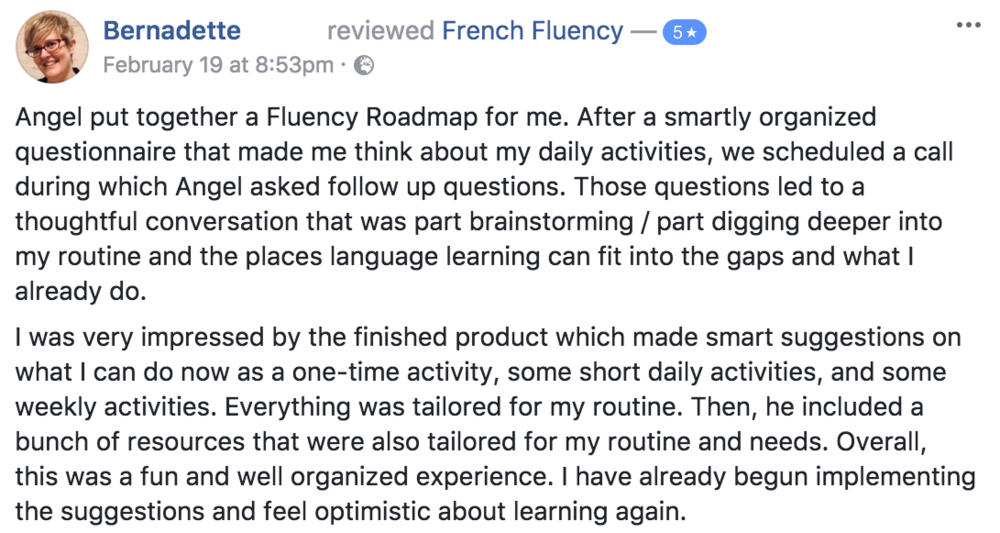 Learn French Angel Pretot Roadmap to Fluency testimonial - Bernadette.png