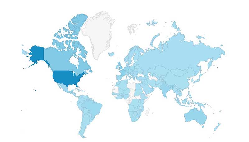 Where the readers of Frenchfluency.net live, according to google analytics