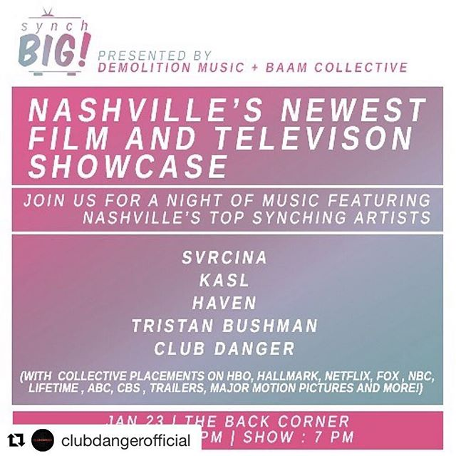 #Repost @clubdangerofficial with @get_repost ・・・ Nashville: We're leaving the studio for a few hours. And joining the club. This is going to rule. Testing out some new songs and sharing the stage with some of the coolest artists we know. Free show at @thebackcorner courtesy of the rad folks at @synchbigmusic Come hang! We also have a very special friend joining us on the drums.  #alternative #nashville #music #filmandtv #mannightmusic #newmusic #livemusic #syncmusic #freeshow #clubdanger