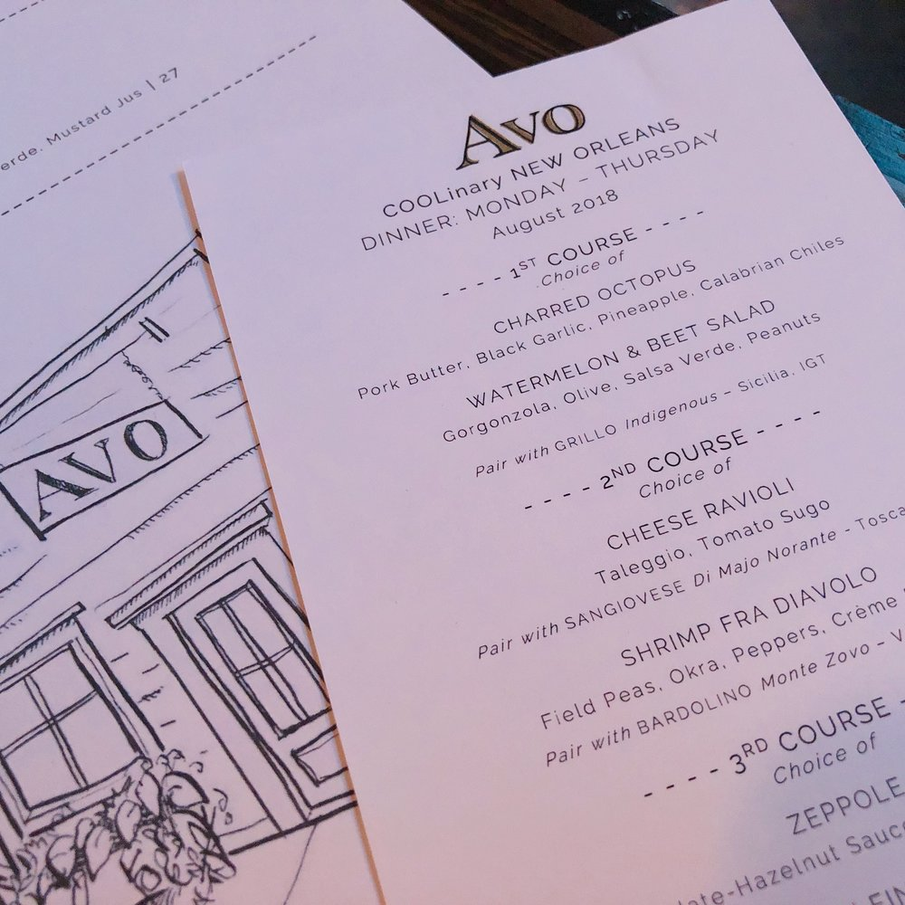 Restaurant Avo Coolinary Menu 2018