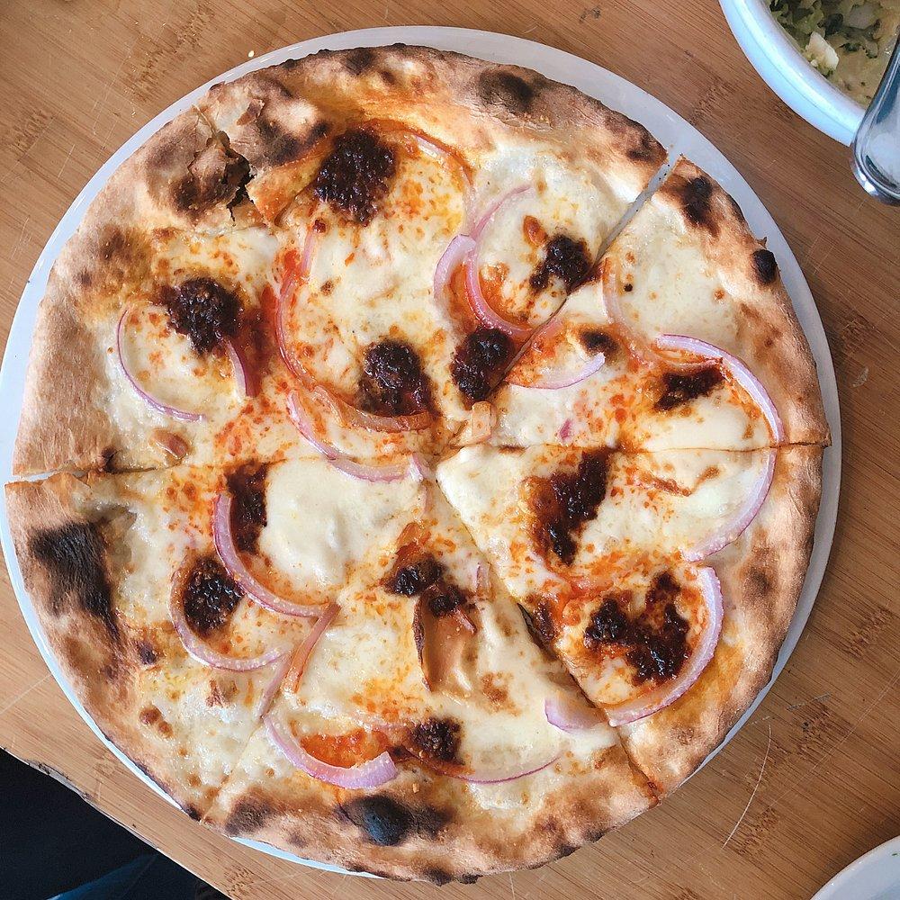 """Pizza Superstar Brooklyn Ndjua Pizza - WITH meat. The dark (burnt look spots) are the spreadable salami aka """"Ndjua"""""""