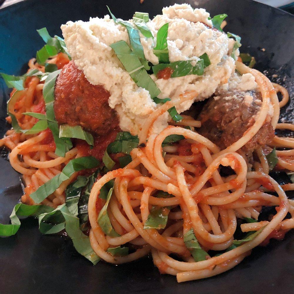 GLAM Vegan Miami- Spaghetti + Meatless Balls