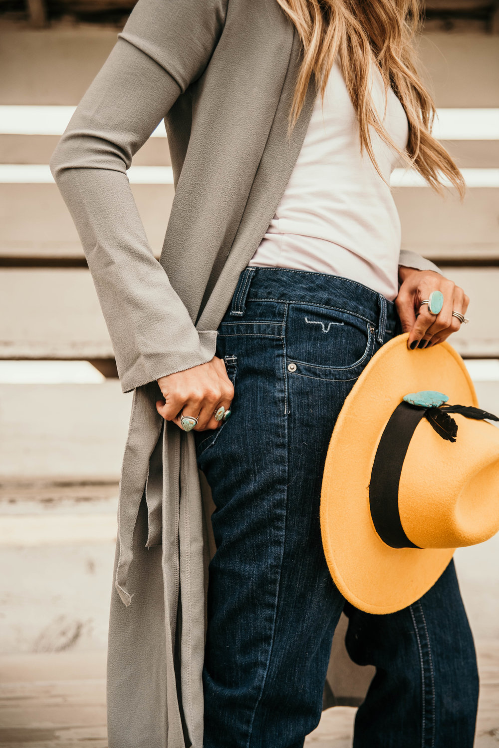 Miss. Miller's Photography | Kimes Ranch Jeans | Western Couture | Yellow Western felt hat | tourqious hat decor | cowgirl fashion jeans | western boutique