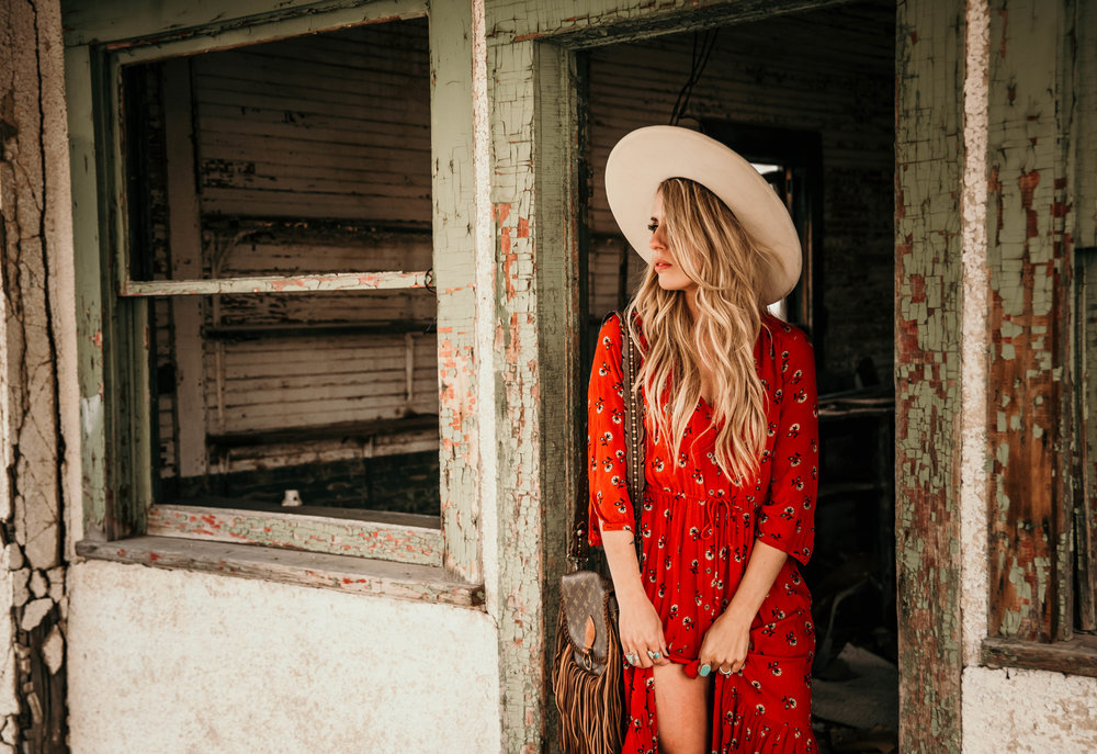 Miss. Miller's Photography | Western Couture | Western Fashion | Red boho dress | spring western dress | spring boho dress | red dress | white fort worth hat | Whitney Benton