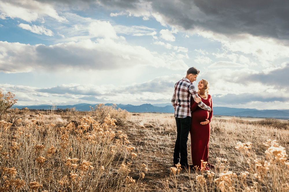 Miss. Miller's Photography | Colorado Photographer | Colorado Maternity session | Colorado maternity photographer | rocky mountain destination photographer | red maternity dress | maternity poses | maternity photo session ideas