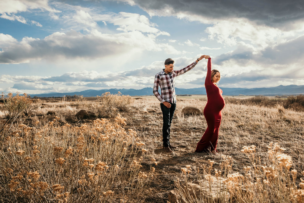 Miss. Miller's Photography | Colorado Maternity Photographer | dirty boots and messy hair presets | maternity photo ideas | maternity candid poses | dancing couples photos | red maternity gown