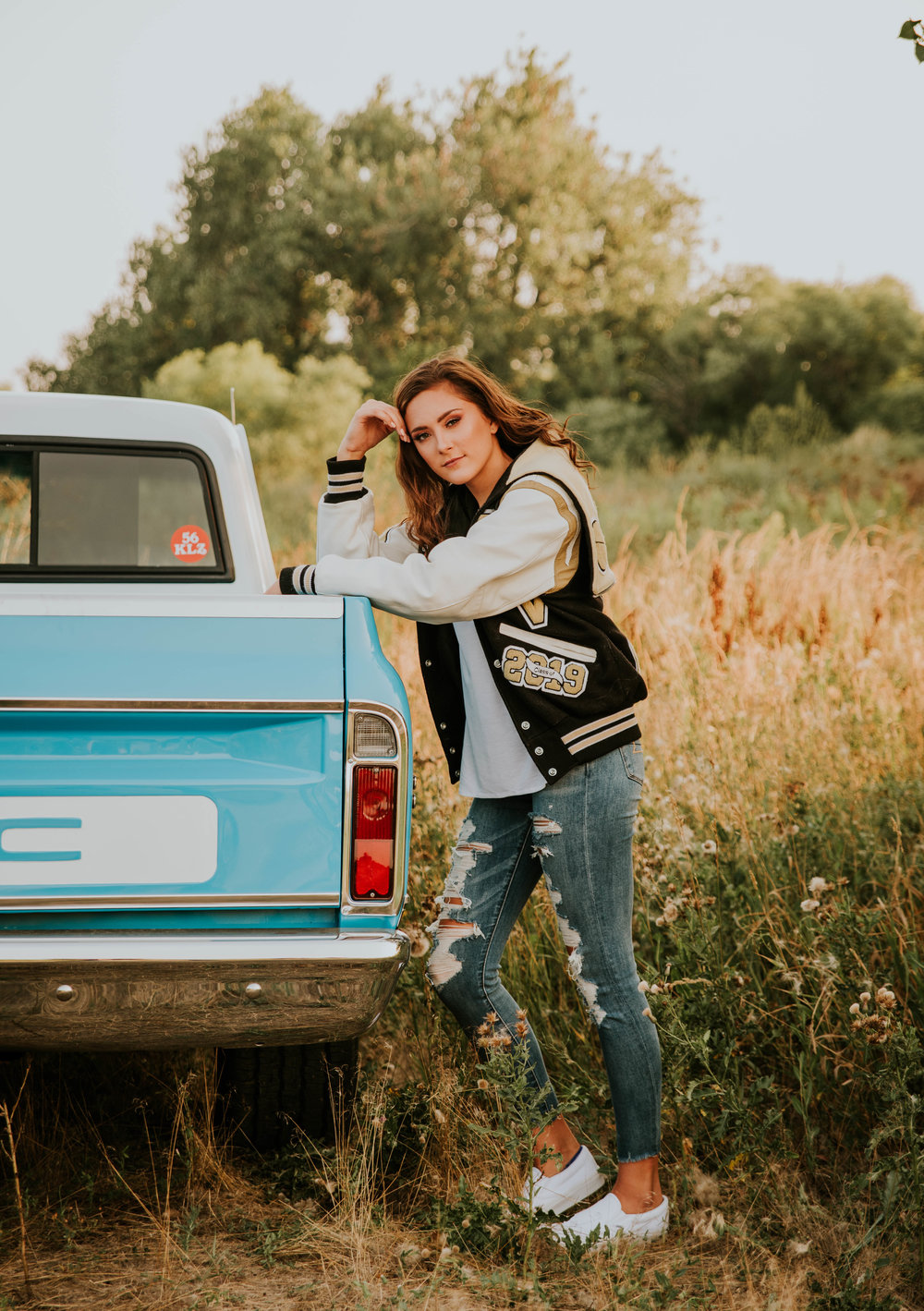 Miss. Miller's Photography | Colorado Senior Photographer | Senior Photos with Truck | Girls Senior Photos 2018 | Modern Senior Photos | Candid senior poses | senior photos with cars | gmc truck | senior photo poses | senior photo ideas girls | summer senior photos