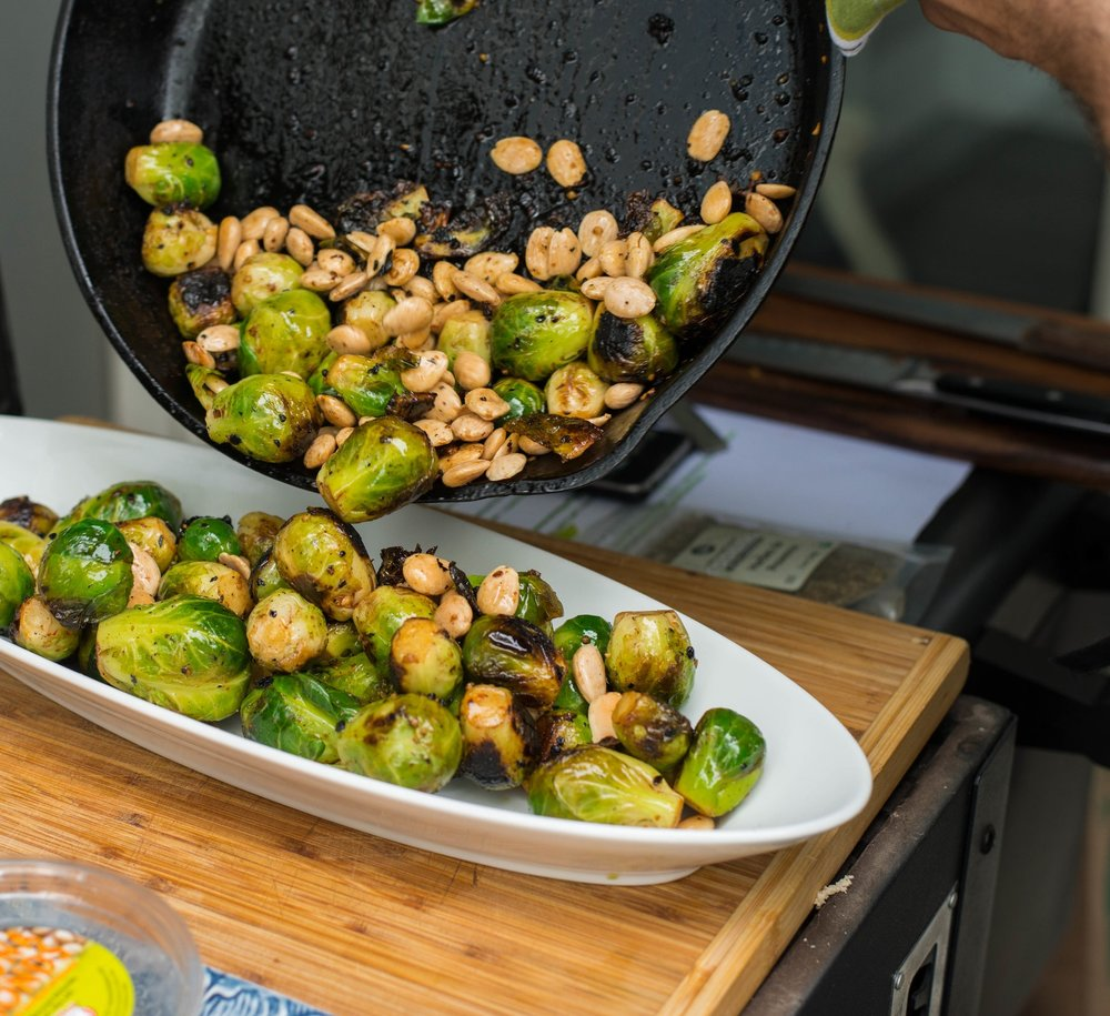 Spanish Marcona Almonds Elevate Brussels Sprouts | Photo Cred:  Kerri McMahon