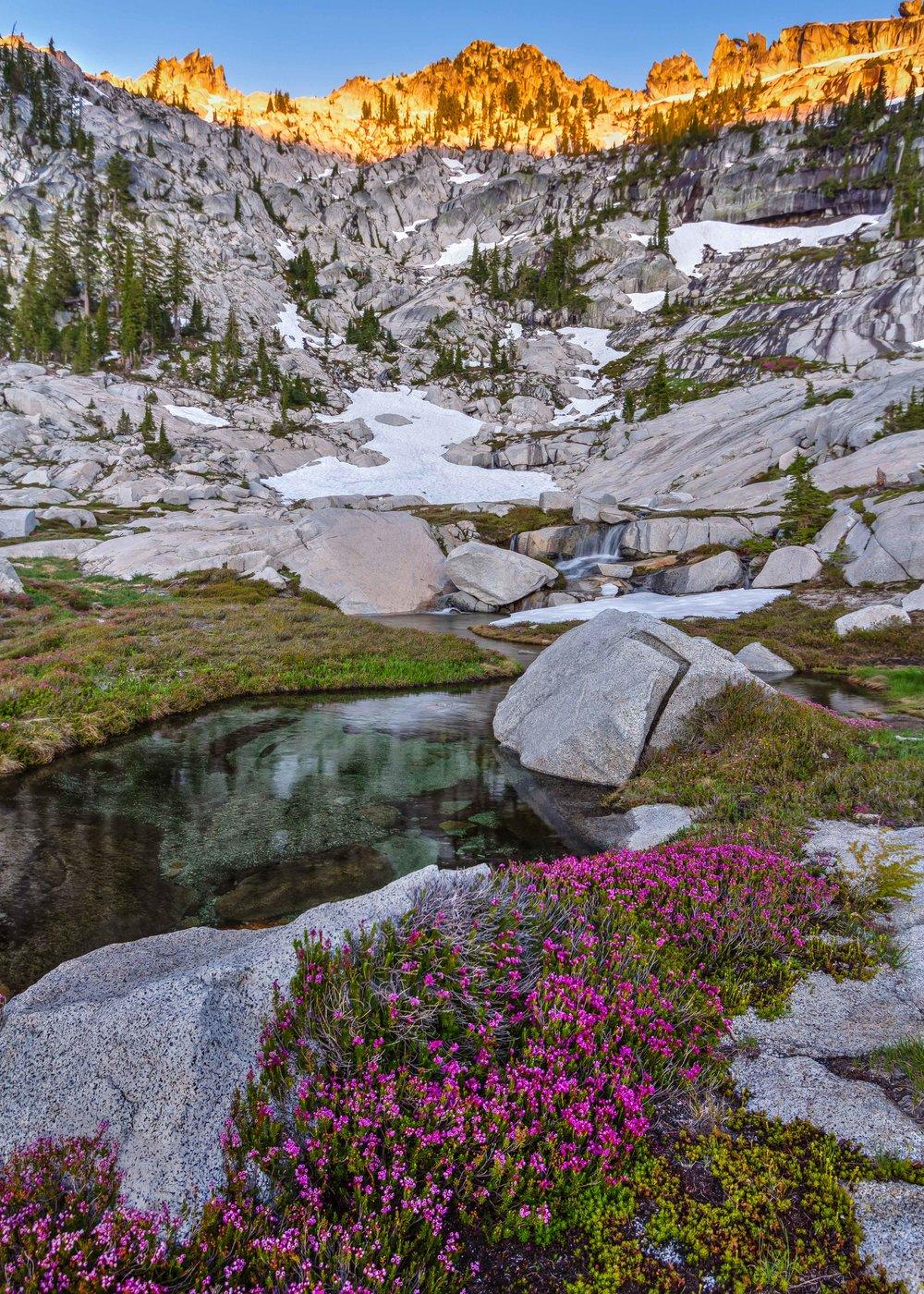 Trinity Alpenglow  Trinity Alps, California