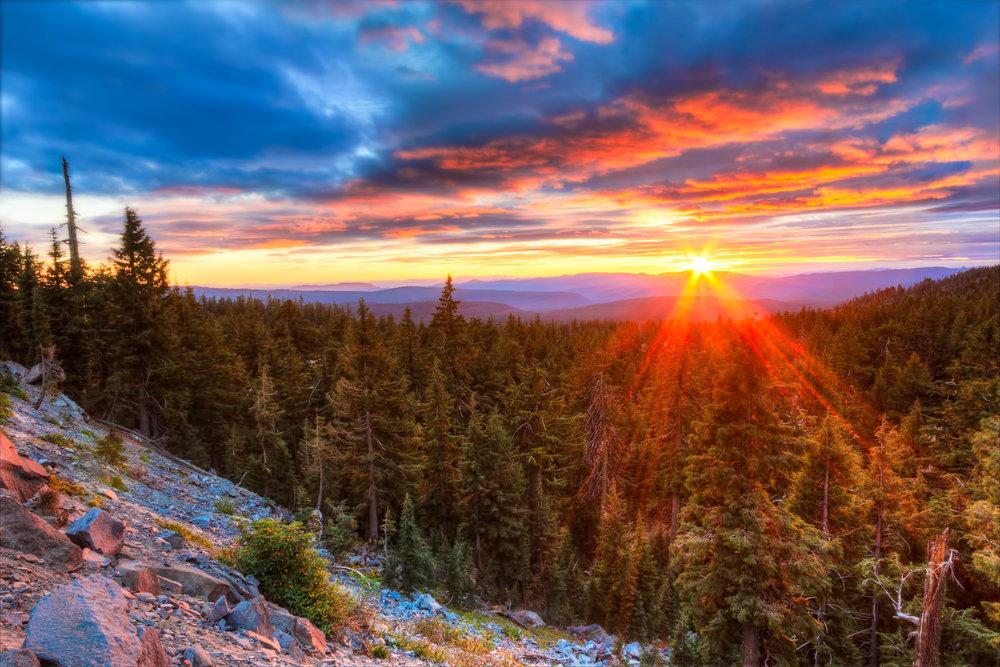 Rim Fire Sunset  Crater Lake National Park, Oregon