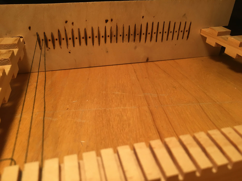 Image: a handcrafted heddle to modify a weaving loom as part of the ongoing development of Crafty Scribe's product line (Fine Threads)