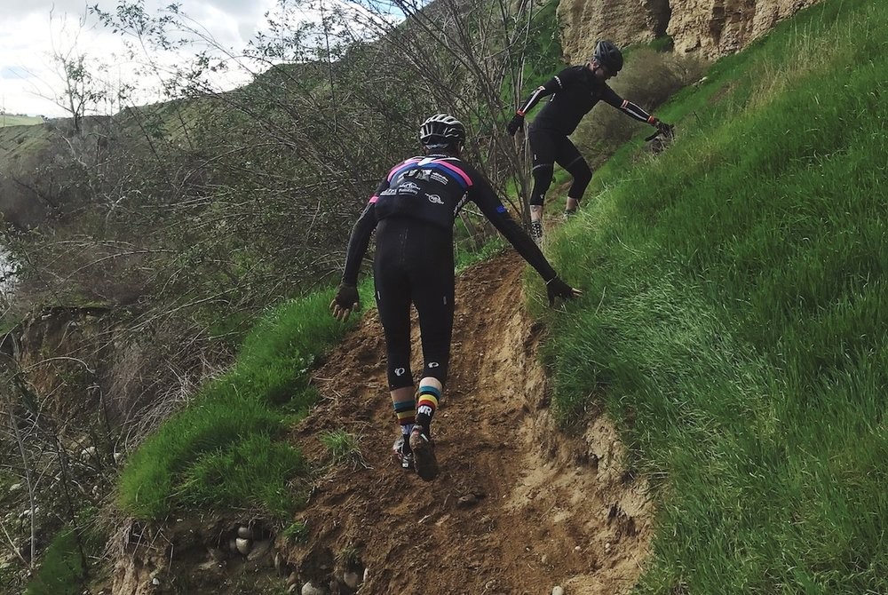 A rider who fell off this exposed trail quickly recovered