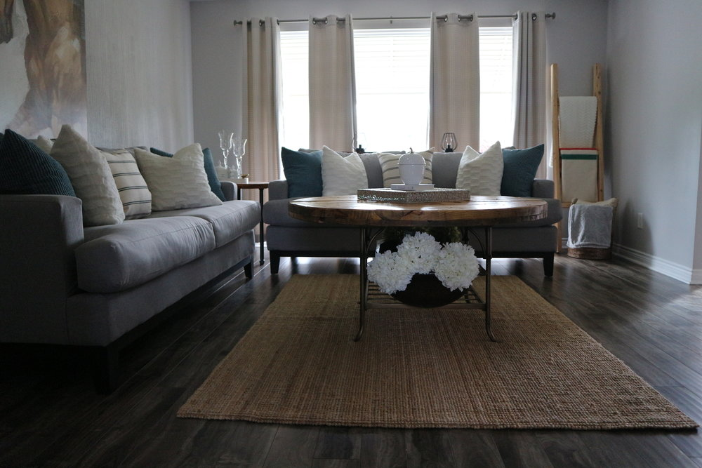 Here is how we use our LOHALS rug from Ikea! It is the perfect jute rug to help bring out the rustic feel throughout our home. We love using this rug in the living and dining room.