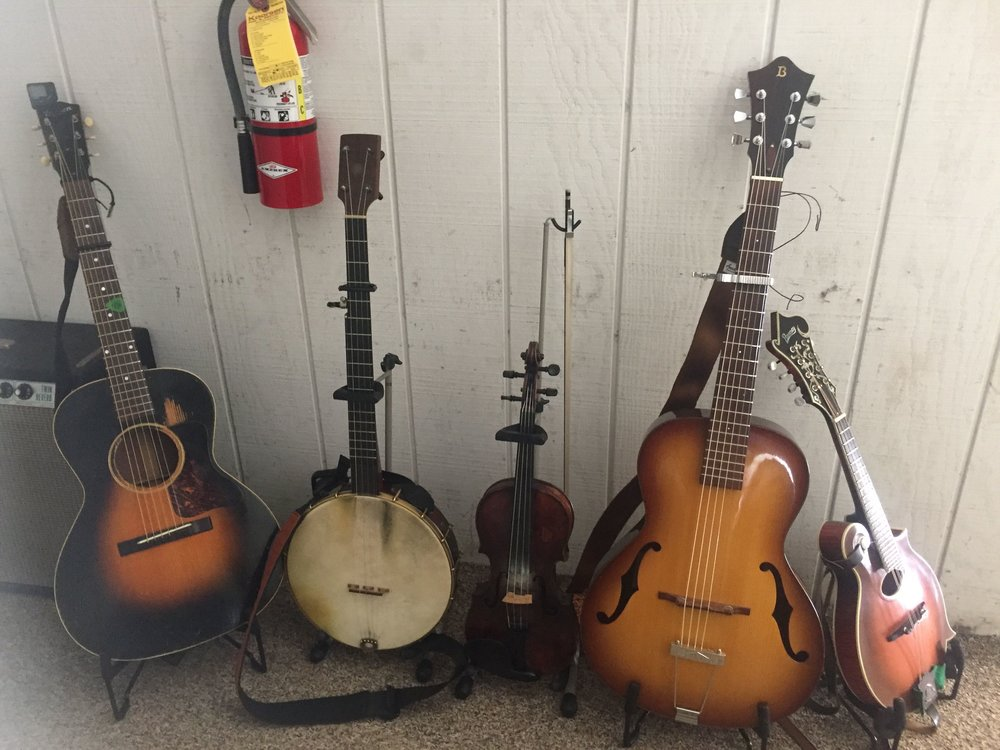 About half the instruments used for a SRSB performance... it's a string band delight!
