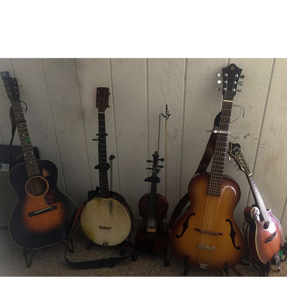 About half the instruments used in a SRSB performance... it's a string band lover's delight!
