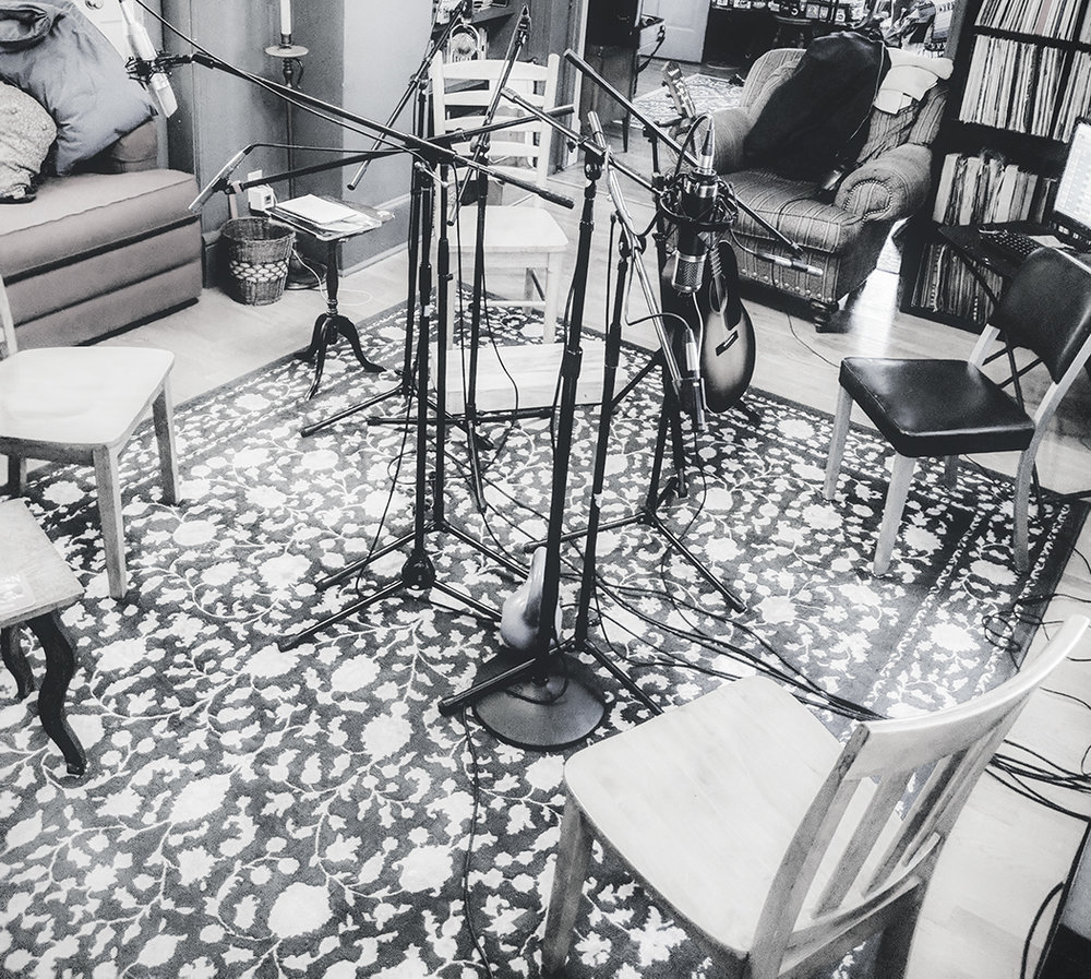 """setup for pre-production rehearsals and recording. """"Diamond of Power"""" recording configuration designed by clarke wyatt with ryan spearman. -"""