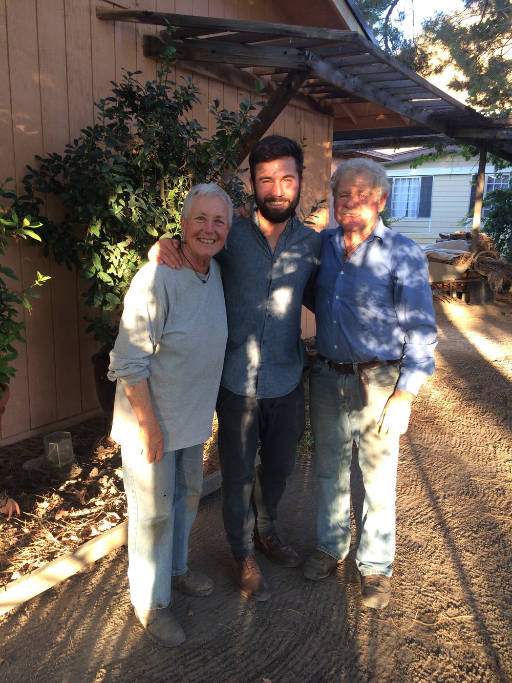 Me with Bill and Barbara at Windrose Farm in California. Two amazing farmers, mentors and friends.