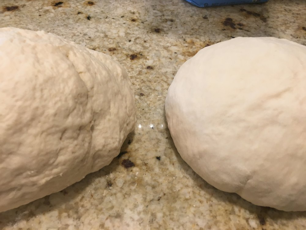 Just out of the mixer on the left - after 5 minute rest on the right.