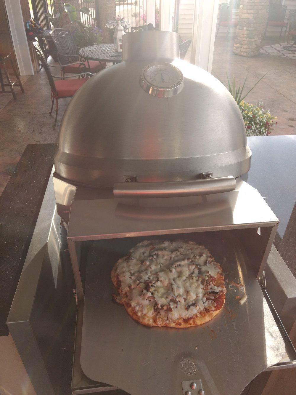 Pulling pizza in a Blaze