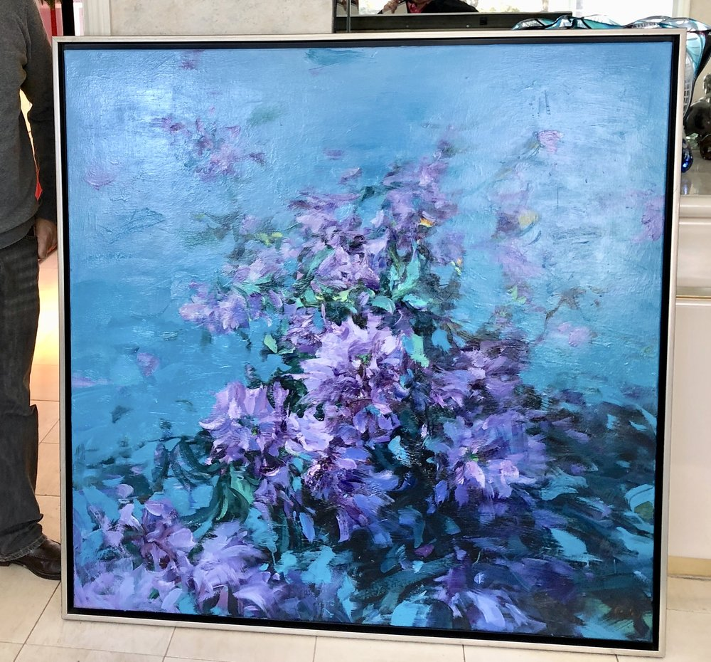 """The 48""""x48"""" large floral painting finally found a home."""