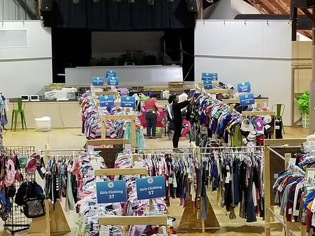 It's been a busy few days at the @kidsclosetconnection Consignment Sale at the Bush Tabernacle! Come shop with us today and tomorrow! We're open until 9pm!