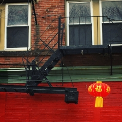 Traditional decorations for Chinese New Year hanging in Boston's Chinatown.