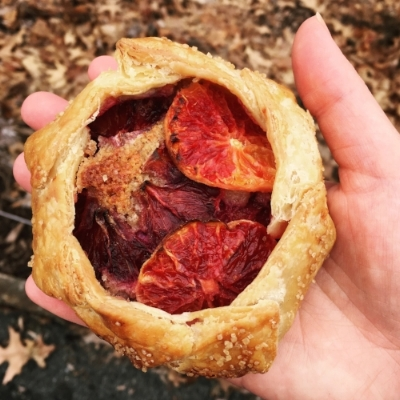 A delightful blood orange galette coutesty of Hungry Ghost Bread.