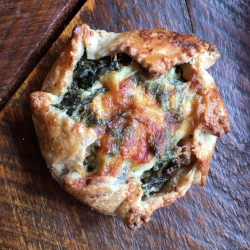 This was a much-needed, tasty hand pie. Kale, potato, carmelized onion and cheese. Yum.