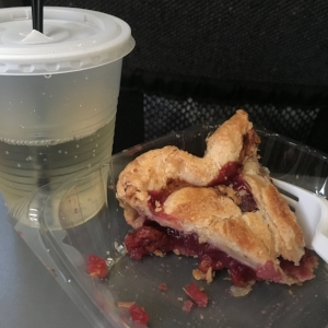 Classy train pie with class train prosecco. Please note the double straw.